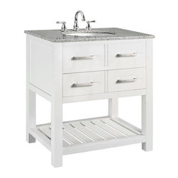 Fraser Bath Vanity, White - I love this straightforward vanity. It has plenty of storage paired with the appealing look of some open shelving.