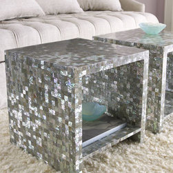 "Bernhardt - Bernhardt Abalone Side Table - An allover abalone shell veneer gives this fabulous little table from Bernhardt distinctive flair. An open interior with shelf brings even more function to the design. 18""Sq. x 18""T. Imported."