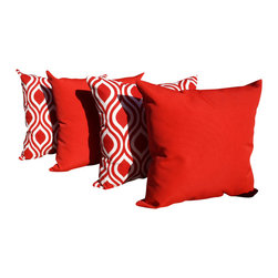 Land of Pillows - Solar Cherry and Nicole Rojo Red and White Outdoor Throw Pillows - Set of 4 - Fabric Designer - Richloom