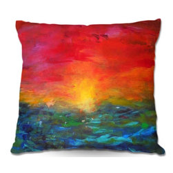 DiaNoche Designs - Pillow Linen - Jackie Phillips Rainbow Sunset - Add a little texture and style to your decor with our Woven Linen throw pillows. The material has a smooth boxy weave and each pillow is machine loomed, then printed and sewn in the USA.  100% smooth poly with cushy supportive pillow insert with a hidden zip closure. Dye Sublimation printing adheres the ink to the material for long life and durability. Double Sided Print, machine wash upon arrival for maximum softness. Product may vary slightly from image.