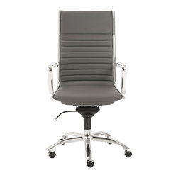 Eurostyle - Eurostyle Dirk High Back Office Chair in Gray & Chrome - High or low. Armrests or not, the Dirk design is very popular for all the right reasons. The front of the seat and the top of the back are one-piece sections for a finished look. The inner seat and lower back are flat bungee bands which offer outstanding comfort that is famous everywhere in the known world. What's included: Office Chair (1).