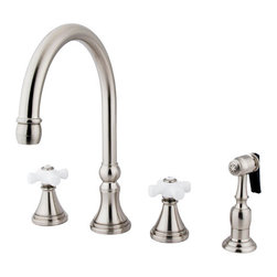 """Kingston Brass - 8"""" Deck Mount Kitchen Faucet with Brass Sprayer - Inspired by 18th Century elegance, this faucet is the ideal choice for those wishing to create a luxuriant look for their kitchen. The faucet has a double handle deck mount setup and features a 8""""-16"""" design. The body is fabricated from solid brass for durability and long-lasting use. The color finish is made of satin nickel for that silvery complexion, as well as resisting scratches, corrosion and tarnishing. The spout rotates 360 degrees for accessibility and convenience. The handle acts as a 1/4-turn on/off water control mechanism for easy management of water volume and temperature. The faucet operates with a ceramic disc valve for droplet-free functionality with the water measured 2.2 GPM (8.3 LPM) and a 60 PSI maximum rate. An integrated removable aerator is inserted beneath the spout's head piece for conserving water flow. A 10-year limited warranty is provided to the original consumer. Brass sprayer included.; Brass Sprayer Included; Satin Nickel Finish; Porcelain Cross Handle; 8 1/4"""" Spout Projection with a 6-7/8"""" spout clearance; 4 Hole Installation; Material: Brass; Finish: Satin Nickel Finish; Collection: Governor"""