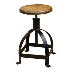 Four Hands - Billet Metal Adjustable Cage Seat - This quirky stool gets its antique industrial look from the cast iron cage bottom repurposed from old factory parts. The adjustable seat of sustainably harvested mango wood adds an element of natural warmth to balance the functional antiqued metal. Use it by itself at a desk or drafting table, or collect a few for the breakfast bar.