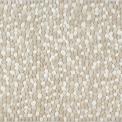 Ligne Pure - Stones White Rug - The raised rock pattern on this rug creates a unique surface and texture.