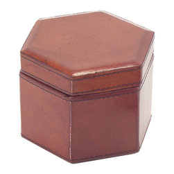 John Richard - John Richard Small Hexagon Leather Watch Box JRA-9331 - A small handsome hexagon shaped watch box in rich brown tanned leather lined in gray brown suede. This box has lovely accent stitching. Note: Natural leather, variations in color will occur.
