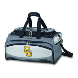 "Picnic Time - Baylor University Buccaneer Cooler And Barbecue Set - The Buccaneer is a Picnic Time original design and the ultimate tailgating cooler and barbecue set in one! Don't be fooled by other similar looking items on the market. Only Picnic Time's Buccaneer features a PVC cooler that conveniently nests inside the compartment that houses the portable BBQ. The tote can carry the BBQ and a fully-loaded cooler at the same time! This patented, innovative design features a large insulated and fully-removable, water-resistant cooler that measures 16 x 8 x 7"" and holds up to 24 12-oz soda cans. Unzip the cooler from the main tote to access the portable charcoal barbecue grill that's included. The cooler has two carry straps on either side, and features a mesh pocket on the interior lid that fits a large ice pack/gel pack. The Buccaneer also features an adjustable shoulder strap with comfort pad, a reinforced waterproof base, three large zippered exterior pockets to store personal effects, padded carry handles, and a stretch cargo cord on the top of the tote to carry a blanket or towel. Included in the tote are: 1 portable charcoal BBQ grill with lid (16.7 x 10.8 x 5.1""), one black drawstring bag to hold the grill, and three stainless steel tools with aluminum handles and non-slip thumb grips: 1 large spatula featuring a built-in bottle opener, grill scraper, and serrated edge for cutting, 1 pair of tongs, and 1 BBQ fork. Don't be caught without the Buccaneer at your next tailgating party!; College Name: Baylor University; Mascot: Bears; Decoration: Embroidered; Includes: 1 portable charcoal BBQ grill with lid (16.7 x 10.8 x 5.1""), one black drawstring bag to hold the grill, and three stainless steel tools with aluminum handles and non-slip thumb grips: 1 large spatula featuring a built-in bottle opener, grill scraper, and serrated edge for cutting, 1 pair of tongs, and 1 BBQ fork"
