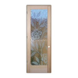 "Sans Soucie Art Glass (door frame material T.M. Cobb) - Interior Glass Door Sans Soucie Art Glass Hibiscus 3D - Sans Soucie Art Glass Interior Door with Sandblast Etched Glass Design. GET THE PRIVACY YOU NEED WITHOUT BLOCKING LIGHT, thru beautiful works of etched glass art by Sans Soucie!  THIS GLASS IS SEMI-PRIVATE.  (Photo is View from OUTside the room.)  Door material will be unfinished, ready for paint or stain.  Satin Nickel Hinges. Available in other wood species, hinge finishes and sizes!  As book door or prehung, or even glass only!  3/8"" thick Tempered Safety Glass.  Cleaning is the same as regular clear glass. Use glass cleaner and a soft cloth."