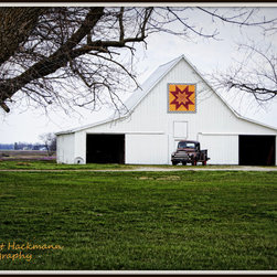 """""""Rising Star Quilt Barn"""" - This Callaway County, Missouri barn used to be home to the farm's work horses. The old Dodge truck parked in front is a nice touch, don't you think? Number 7 in my """"Quilt Barns Collection.""""(Near Hatton, Missouri)."""