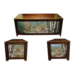 Kelseys Collection - Blanket chest - Cascade Crossing - Blanket chest or hope chest has great art giclee canvas printed on three sides. Also functions as a bench. High quality craftsmanship and famous artwork make unique home decor furniture. Lid is strengthened with 3 strakes.  Measures 48x19x20.  The lid is connected with 3 L shaped hinges which are connected with five screws.  Easy to assemble in 45 minutes, weighs 40 pounds. Two piston dampers soften the lid closing to protect fingers  Artist - David Maass