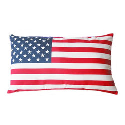 5 Surry Lane - Indoor Outdoor American Flag Home Decorative Pillow Modern Print - Indoor outdoor patriotic American flag pillow.  100% soft polyester.  Withstands UV Rays.  Resistant to water, mold and mildew.  Hidden zipper closure.  Down insert included.