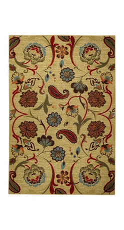 None - Rubber Back Beige Multicolor Floral Non-Slip Door Mat Rug (1'6 x 2'6) - This affordable and fashionable rubber back beige multicolor floral non-slip door mat is a great way to set a color theme in the home.