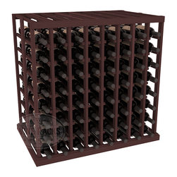 Double Deep Tasting Table Wine Rack Kit in Redwood with Walnut Stain - The quintessential wine cellar island; this wooden wine rack is a perfect way to create discrete wine storage in open floor space. With an emphasis on customization, install LEDs or add a culinary grade Butcher's Block top to create intimate wine tasting settings. We build this rack to our industry leading standards and your satisfaction is guaranteed.