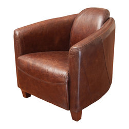 Great Deal Furniture - Rocket Brown Top Grain Leather Club Chair - Inspired by mid 20th century fighter planes this chair is a state of the art accent piece to any room.