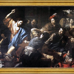 """Valentin De boulogne-18""""x24"""" Framed Canvas - 18"""" x 24"""" Valentin De boulogne Christ Driving the Money Changers out of the Temple framed premium canvas print reproduced to meet museum quality standards. Our museum quality canvas prints are produced using high-precision print technology for a more accurate reproduction printed on high quality canvas with fade-resistant, archival inks. Our progressive business model allows us to offer works of art to you at the best wholesale pricing, significantly less than art gallery prices, affordable to all. This artwork is hand stretched onto wooden stretcher bars, then mounted into our 3"""" wide gold finish frame with black panel by one of our expert framers. Our framed canvas print comes with hardware, ready to hang on your wall.  We present a comprehensive collection of exceptional canvas art reproductions by Valentin De boulogne."""
