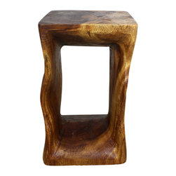 Kammika - Natural Stool 12x12x20 inch H Monkey Pod Wood in Eco Friendly Livos Walnut Oil - Our unique Sustainable Monkey Pod Wood Natural End Table with Eco Friendly, Food-safe Livos Walnut Oil Finish is 12 inches square on top and bottom x 20 inches in Height. The wavy design of this sustainable Monkey Pod wood functional art piece with eco friendly finish accentuates the flow of the wood grain. By coupling the warmth of the natural beauty of the wood with the imagination and talent of the craftsman, we present a versatile sturdy piece that can be used as an end table, display stand, or stool. Designed for use stand alone or in groups; they can serve as a serving table or bench when put together. Each piece is a unique creation, and is a Work of Art, Functional Sustainable Monkey Pod Wood Eco Friendly Art! Craftspeople from the Chiang Mai area in Northern Thailand create these pieces with the simplest of tools. After each Monkey Pod wood (Acacia, Koa, Rain Tree grown for wood carving) piece is dried, carved and sanded, it is rubbed in Livos Walnut Oil creating a water resistant and food safe matte finish. Color ranges from medium to dark walnut brown tones that will darken as the wood ages. There is no oily feel, and cannot bleed into carpets. Crafted from sustainable Monkey Pod wood, we make minimal use of electric sanders in the finishing process. Dried in solar or propane kilns, no chemicals are used in the process, ever. Made from the branches of the Acacia tree, where each branch is cut and carved to order (allowing the tree to continue growing), these are packaged with cartons from recycled cardboard with no plastic or other fillers. The color and grain of your piece of Nature will be unique, and may include small checks or cracks that occur when the wood is dried. Sizes are approximate. Products could have visible marks from tools used, patches from small repairs, knot holes, natural inclusions or holes. There may be various separations or cracks on your pie