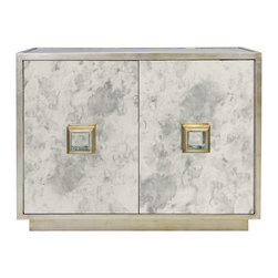 Kathy Kuo Home - Chantal Hollywood Regency Antique Silver Mirror Cabinet - A medley of marbled metallic, this cabinet is a showpiece as well as a storage chest. With silver and gold blending together on an antique-mirrored finish with a shining silver square handle, this piece reflects your refined taste. The interior has space for storing clothes, linens and other necessities.