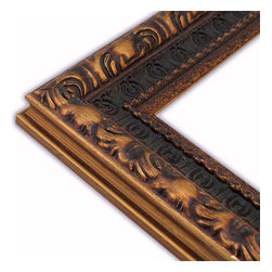 The Frame Guys - Narrow Ornate Dark Gold/Brown Picture Frame-Solid Wood, 10x10 - *Narrow Ornate Dark Gold/Brown Picture Frame-Solid Wood, 10x10