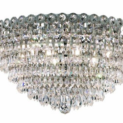 "PWG Lighting / Lighting By Pecaso - Agathe 9-Light 20"" Crystal Flush Mount 1617F20C-SS - This classical Agathe Crystal Chandelier with flowing symmetrical shape and nearly invisible frame offers a striking surge of brilliant light. Sconces and ceiling mounts enhance your room decor."