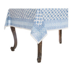 Origin Crafts - Bamboo palm blue tablecloth - Bamboo Palm Blue Tablecloth 100% Cotton, block printed. Machine wash, tumble dry low, warm iron as needed. Made in India. Dimensions (in): Square - 55x55 - Seats 2?4 Rectangle - 60x90 - Seats 4?6 Rectangle - 60x120 - Seats 8?10 By Pomegranate Inc. - Pomegranate's vivid prints and wonderfully