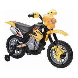 "Happy Rider - 6 Volt Battery Dirt Bike Ride-on Motorcycle - Features: -Motorcycle. -Drives in forward. -Working front light and music. -On-off power switch, press button on handlebar to go. -Ages 3 to 8 years. -Material: Plastic. -Speed: 5 MPH. -Child Age: 3 to 6, 6 and Up. -Assembly: Assembly Required. -25.9"" H x 20.9"" W x 40.1"" D, 20 lbs. -Weight capacity: 55 lbs."