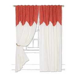 "Anthropologie - Pheasant Eye Curtain - Sold individuallyTunnel tab construction Cotton voile; cotton voile liningDry clean50""W Imported"