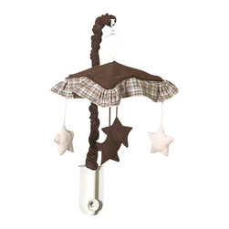 Sweet Jojo Designs - Chocolate Teddy Bear Crib Mobile - The Chocolate Teddy Bear Crib Mobile will have you putting your baby to sleep in style. When wound up this crib mobile spins and plays Brahms' lullaby. This musical crib mobile has been manufactured to fit standard sized cribs. The mobile set includes a musical mobile frame, canopy with hanging toys, and matching arm sleeve cover.Please note:The plastic clamp fits standard rails up to 2 3/4 in. wide. Non-standard crib rails may be wider than 2 3/4 in. and may not work with these mobile frames.