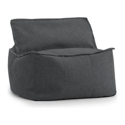 Comfort Research - Comfort Research Big Joe Lux ID Zip It! Square - Hitchcock, Magnet - At Comfort Research, being called a square is one of the nicest things you can say about someone. That's because it refers to our Zip It! Square, a super comfy, ultra soft, glass half-full kind of chair that can do most anything. It can be a seat, a foot rest or a trustworthy  cushion to lean against if the couch is full. And because it's a member of our Zip It! family, the Square goes the extra yard by unzipping to reveal additional lower back support. So go ahead and call us a square. We'd be honored. Filled with UltimaX Beans that conform to you.  Double stitched and double zippers. Spot clean.
