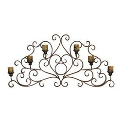 Uttermost - Uttermost 13446 Juliana Metal Wall Art Sconce - This decorative wall sconce is made of hand forged metal finished in a combination of dark red rust and olive bronze. Distressed antiqued candles included.
