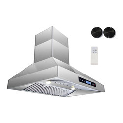 GOLDEN VANTAGE - GV 30-Inch Stainless Steel Island Range Hood W/Carbon Filter For Ductless Option - Our Contemporary Europe design range hoods capture the most pollutants, grease, fumes, cooking odors in a quiet way but maintain a strong CFM From 300-900 depends on the style or model you choose. GV products not only provide top notch quality of material, we also offer led lighting, quite chamber blower,adjustable telescopic chimney. All of our range hoods can convert to ventless/ductless options if outside exhaust not permitted.    Features: