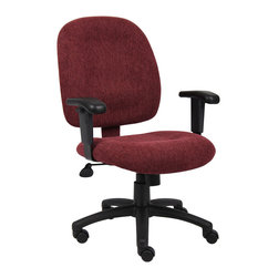 "Boss Chairs - Boss Chairs Boss Wine Fabric Task Chair with Adjustable Arms - Mid-back styling with firm lumbar support. Elegantly upholstered in Chenille fabric. 25"" nylon base. Hooded double wheel casters. Pneumatic gas lift seat height adjustment. Adjustable tilt tension control."