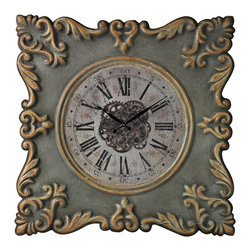 Antique Reproduction Clock Frame With Industrial Center Print - *Dimensions: 2L x 34.5W x 34.5H