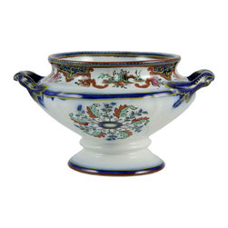 Lavish Shoestring - Consigned Colourful Porcelain Sauce Serving Bowl, English Victorian, 19th Cen - This is a vintage one-of-a-kind item.