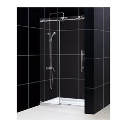 "DreamLine - DreamLine DL-6619C-08CL Enigma-X Shower Door & Base - DreamLine Enigma-X Fully Frameless Sliding Shower Door and SlimLine 36"" by 48"" Single Threshold Shower Base"