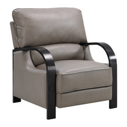 Emerald Home Furnishings - Calie Push Back Recliner in Light Grey Bonded Leather - The Calie Push Back Recliner in Light Grey Bonded Leather, by Emerald Home Furnishings, is now on sale from Savvy Home on Houzz!