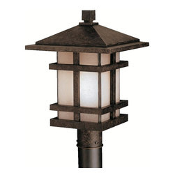 KICHLER - KICHLER 9529AGZ Cross Creek Arts and Crafts/Mission Outdoor Post Lantern - With rustic charm as unique as its design, The Cross Creek Collection puts a modern spin on a classic fixture. Each piece is constructed from long lasting cast aluminum ensuring a quality fit and finish that will last for ages. Our Aged Bronze finish adds a distressed appearance to the piece, while Textured linen seedy glass panels additional warmth make the Cross Creek Collection the perfect balance of ambiance, style, and value. This one light outdoor post lantern from the Cross Creek Collection uses a 150-watt (max.) bulb and is U.L. listed for wet location. Post Not Included.