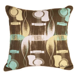 Manual - Pair of Acoustic Guitar Print Reversible Throw Pillows - This pair of 18 inch by 18 inch cotton / polyester blend throw pillows adds a wonderful accent to your home decor. The pillows feature the same print on both front and back, a repeating acoustic guitar pattern. They have 100% polyester stuffing. These pillows are crafted with pride in the Blue Ridge Mountains of North Carolina, and add a quality accent to your home. Original artwork by Stella Bradley. They make great gifts for music lovers.