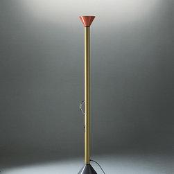 Callimaco floor, design by Ettore Sottsass - 1982 - Floor standing luminaire for indirect halogen lighting.