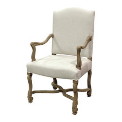 Kathy Kuo Home - Dafny French Country Empire Camel Back Dining Arm Chair - Delicate curves and carving, definitely fuss-free! A natural finish and simple linen upholstery make this French country armchair ideal for the down-to-earth elegance of your decor.