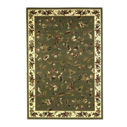 Cambridge 7332 Sage/Ivory Floral Vine Rug - Our Cambridge Series is machine-woven in China of heat-set polypropelene. This line features a current color palette in classic and transitional patterns providing a well-designed and durable rug at a very affordable price point. No fringe.
