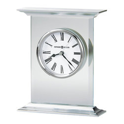 Howard Miller - Howard Miller Clilfton Table Top Clock - Howard Miller - Mantel / Table Clocks - 645641 - This modern contemporary table clock has a radiant new urban character that is sure to be an attractive addition to any mantel or table top. Distinguished by its glass paneling with beveled sides and brushed aluminum top and base with polished profile edges the Clifton has a sleek vibe to it. A floating white dial with classic Roman numerals and polished chrome bezel pair with battery-operated quartz movement to complete the appeal of the Clifton Table Top Clock.