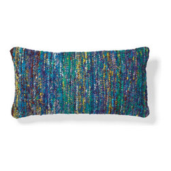 Grandin Road - Sari Lumbar Pillow - Lumbar pillow hand woven from recycled yarn. Natural cotton backing. 94% rayon and 6% cotton construction. Polyfill insert included. Hidden zipper. Add variations in color and texture to your seating with the distinctive Sari Lumbar Pillow on your sofa, loveseat or armchair. Each unique pillow is handmade from soft, recycled yarn that's arranged in an artful, multi-hued composition –no two will be exactly alike. Select your favorite colors and pile them on; combine with the Silk Sari Square Throw Pillow.  .  .  .  .  . Dry clean . Expect color compositions to vary; no two pillows are exactly identical . Each sold separately . Pillow inserts are vacuum packed to minimize shipping costs – simply fluff to restore shape . Imported.
