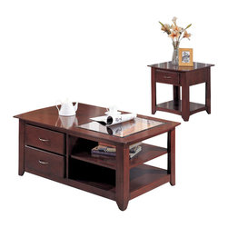 Yuan Tai - Adora 2 Pc Living Room Table Set - Includes cocktail table and end table. Glass top. Cocktail table consists of two drawers. End table has one drawer. Can be used as storage cabinet. Warranty: Six months from the date of delivery. Made from solid and wood veneer. Cherry finish. Assembly required. Cocktail table: 50 in. W x 30 in. D x 20 in. H (60 lbs.). End table: 26 in. W x 24 in. D x 24 in. H (40 lbs.)