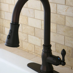 None - Classic Oil Rubbed Bronze Single Handle Faucet with Pull-Down Spout - Faucet type: Kitchen Number of handles: Single-handle Faucet finish: Oil rubbed bronze