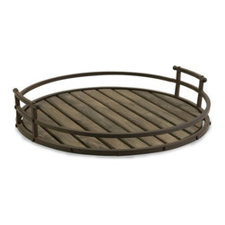 "IMAX - CKI Vermont Iron and Wood Tray - Stylish, industrial tray. Item Dimensions: (20.75""d) Country of Origin: China. Weight: 3.6 lbs"