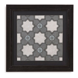 Bassett Mirror - Bassett Mirror Framed Under Glass Art, Caisson IV - Part IV in the Caisson series, this piece uses symmetrical patterns and geometric shapes to make up an image that resembles what one would see while looking through a kaleidoscope! Surrounded by a black matte and beneath glass in a contemporary dark frame, this piece looks great alone, but even more amazing with its fellow series pieces.