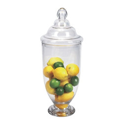 Home Decorators Collection - Apothecary Jar - Our Apothecary Jars are expertly crafted of glass to add visual interest to any tablescape in your home. Modeled after apothecary jars that stored dried herbs, the jars will keep clutter organized and within reach. Add this stylish piece to your home today. Variety of sizes available to hold all of your decorative objects. Clear glass construction.
