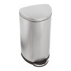 "simplehuman - Semi Round Trash Can 10.5 Gallon - The space-efficient design of the semi-round step can is ideal for high-traffic areas. The flat, slim profile hinge allows this simplehuman trash can to fit flush against the wall while the curved edges allow for easy reach around the can. The ease of the step can makes throwing your trash away hassle-free. Features: -Brushed stainless steel. -Lock back lid for ease during longer chores. -Nonskid base prevents trash can from tipping. -Finger print proof stainless steel lid and body. -Dent proof plastic inner bucket. -Solid stainless steel pedal. -Smartbucket and reg bag change system makes bag disposal easy. -Lid Shox and reg technology prevents the lid from slamming shut. -10 year limited warranty. Dimensions: -26.6"" H x 17"" W x 14.9"" D, 37.4"" H with lid open, 19 lbs."