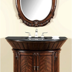 None - Anteros Demilune Bathroom Vanity with Mirror - Update your bathroom with this magnificent antique reproduction brown bathroom vanity with elegant modest carvings along the legs,edge and mirror. This bathroom set will instill a sense of refinement and class to your home.