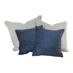 """Great Deal Furniture - 16.5"""" Dark Blue Jacquard Pillows (Set of 2) - Add contemporary design to your seating areas with our decorative pillow sets. Featuring a linen blend cover, you'll find these pillows both stylish and comfortable."""