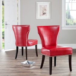 Safavieh - Safavieh Matty Red Leather Nailhead Dining Chairs (Set of 2) - Update the look of your dining room with this set of two bicast leather dining chairs. The nail trim of the red faux-leather chairs will add a look of distinction to your dining room,and concave curved backs and deep seats provide comfort.